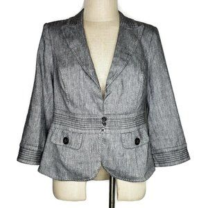 WHBM Blazer Linen Rayon Lined Gray Stretch Sz 10
